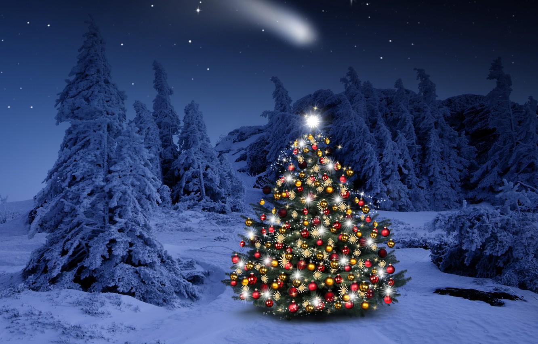 Photo wallpaper winter, snow, decoration, snowflakes, balls, tree, New Year, Christmas, happy, Christmas, night, winter, snow, Merry …