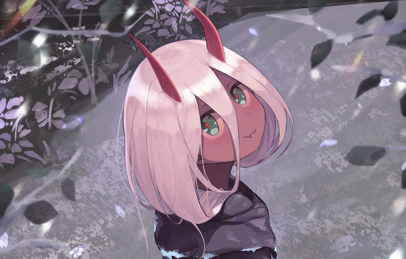 Photo wallpaper look, girl, horns, Darling In The Frankxx, Cute in France