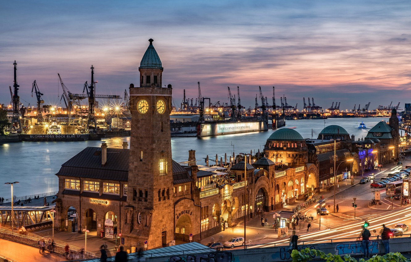Photo wallpaper night, lights, tower, home, crane, Germany, port, Hamburg
