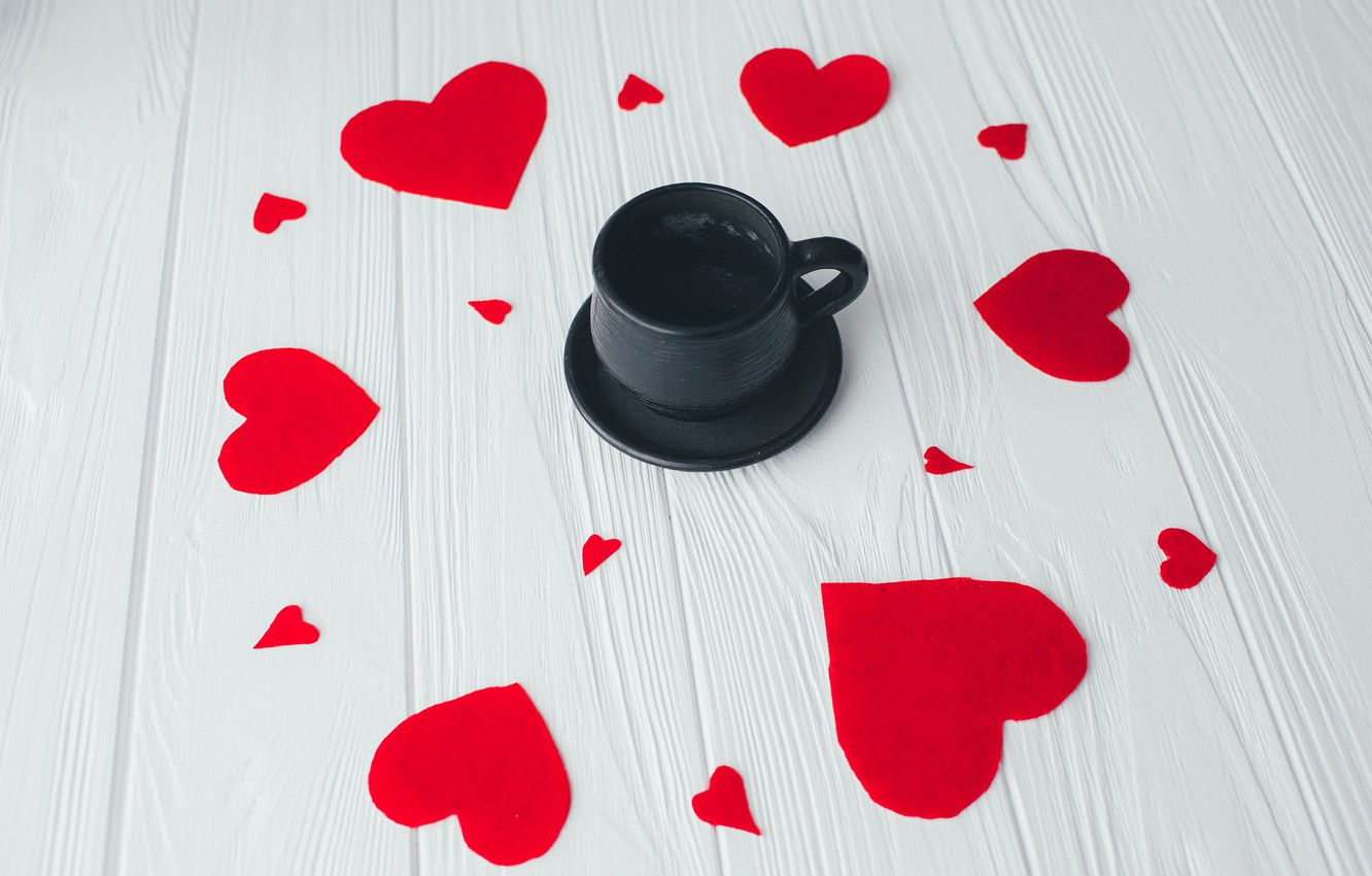 Photo wallpaper love, Coffee, hearts