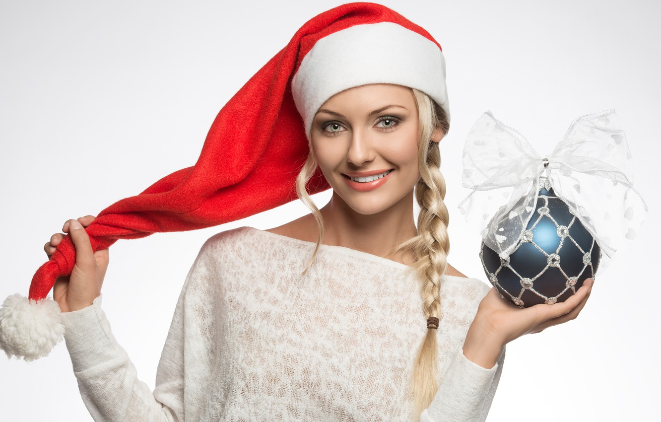 Photo wallpaper smile, holiday, hat, toy, new year, ball, Christmas, makeup, hairstyle, blonde, white background, maiden, decoration, …