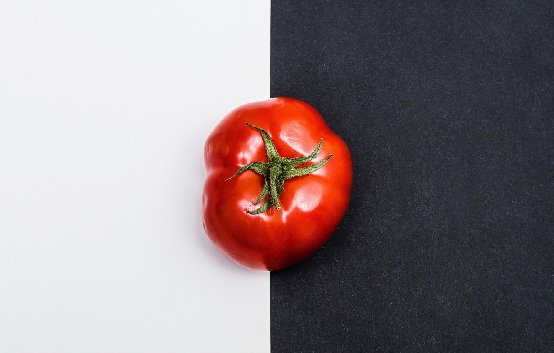 Photo wallpaper red, white, minimalism, black, tomato, tomato, black and white