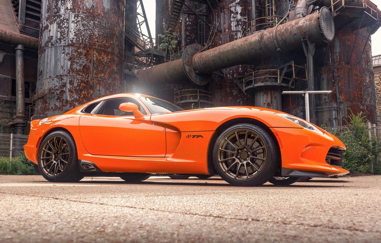 Photo wallpaper orange, sports car, Viper, Dodge Viper