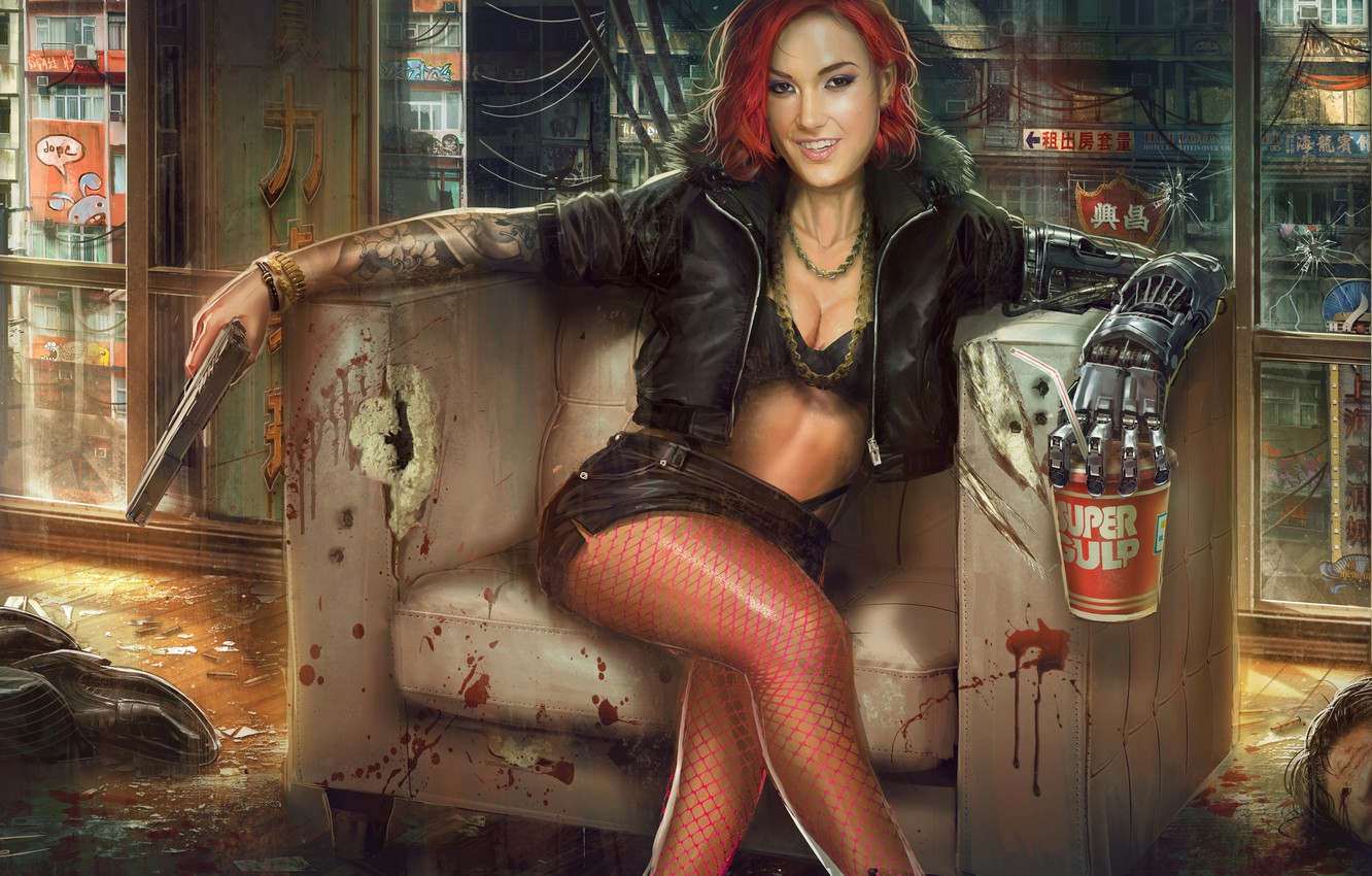 Photo wallpaper girl, gun, weapons, chair, corpses, mechanical hand, the Bounty, Jude Smith