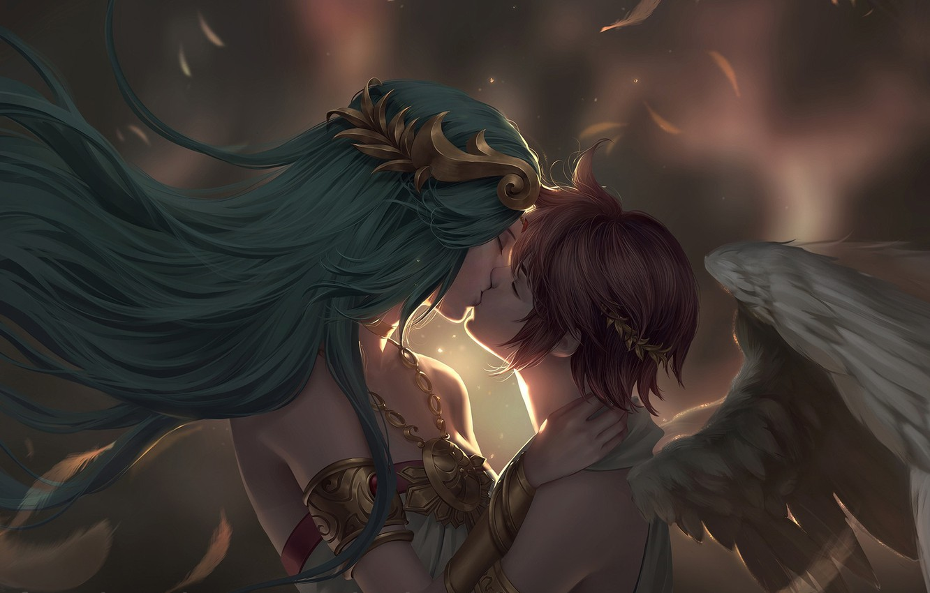 Photo wallpaper meeting, kiss, angel, pair, fantasy, date, Chuby Mi, Commission - Palutena and Pit