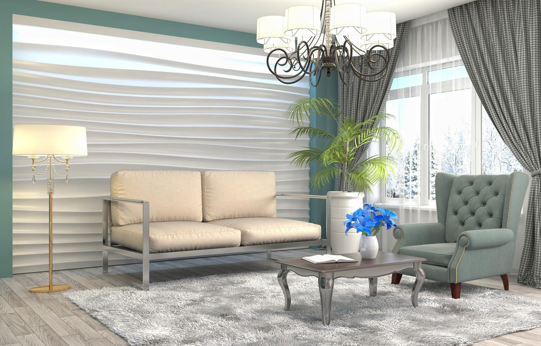 Photo wallpaper flower, design, furniture, interior, chandelier, living room