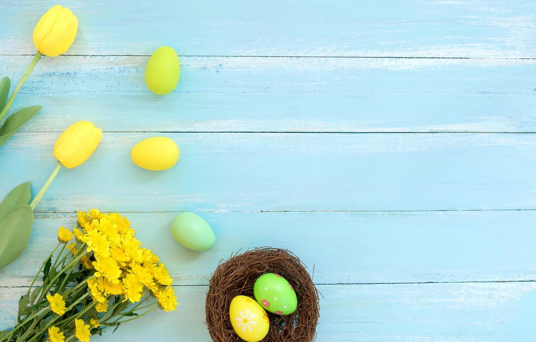 Photo wallpaper flowers, basket, eggs, spring, colorful, Easter, wood, flowers, spring, Easter, eggs, decoration, Happy, tender
