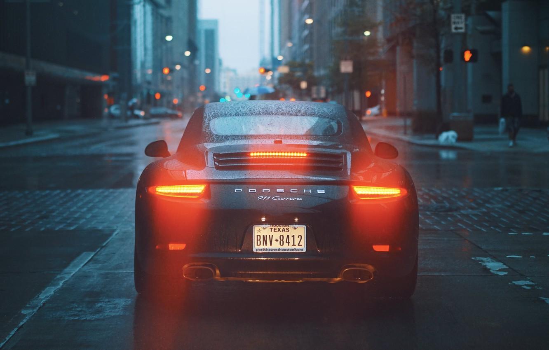 Photo wallpaper city, lights, 911, road, rain, buldings, Porsche 911 Carrera
