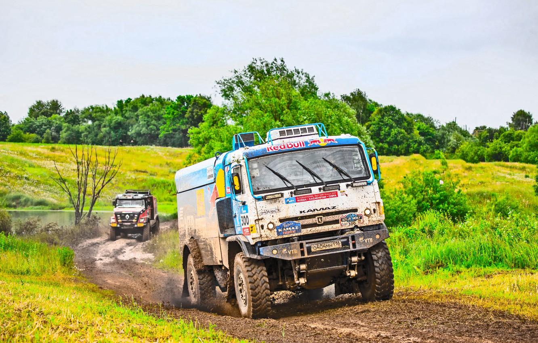 Photo wallpaper Grass, Sport, Speed, Race, Master, Dirt, Renault, Squirt, Russia, Kamaz, Rally, Rally, KAMAZ, Master, Silk …