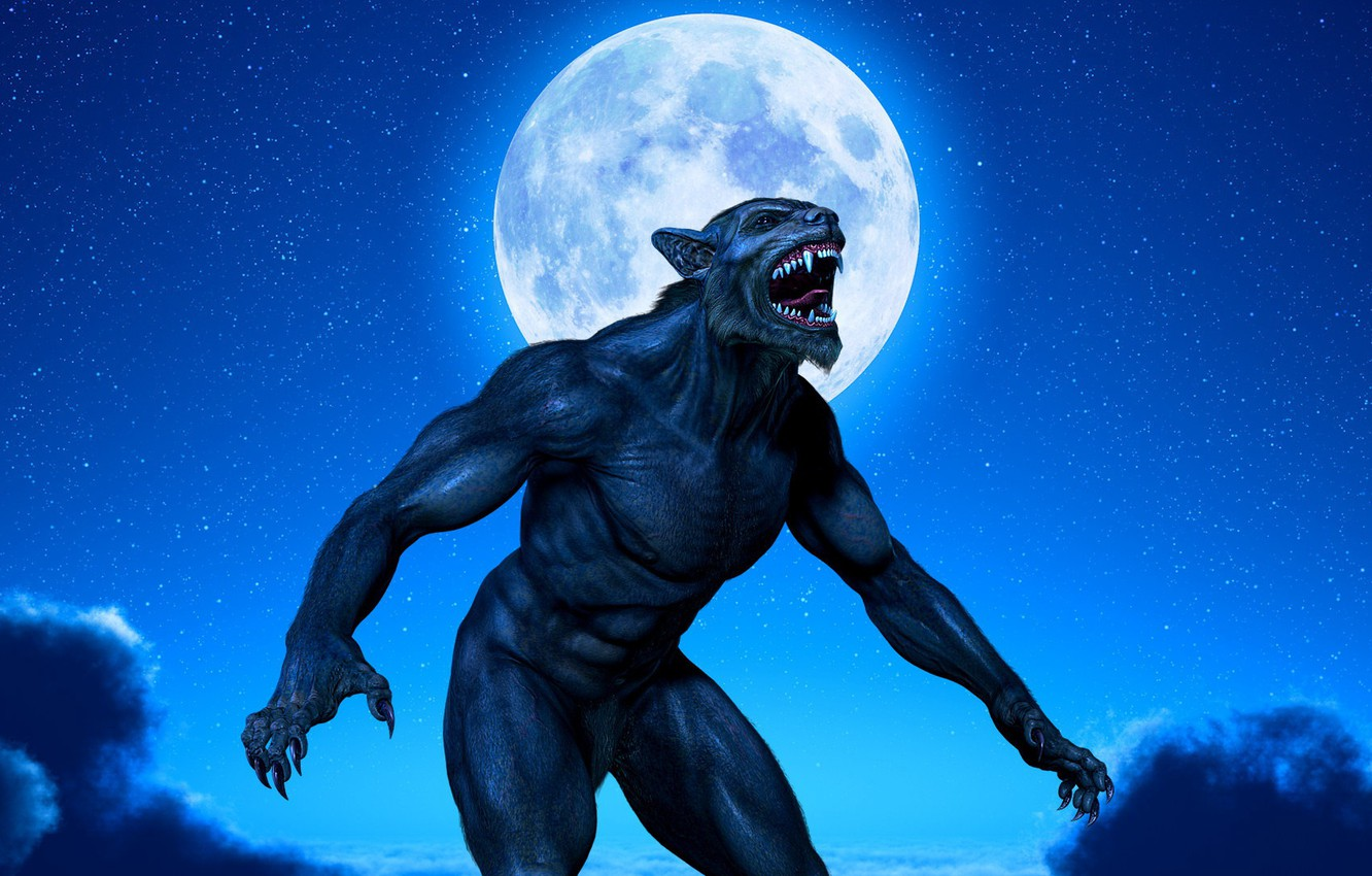 Photo wallpaper clouds, night, claws, fangs, beast, the full moon, werewolf, muscle, night, lycanthrope, lycan, werewolf
