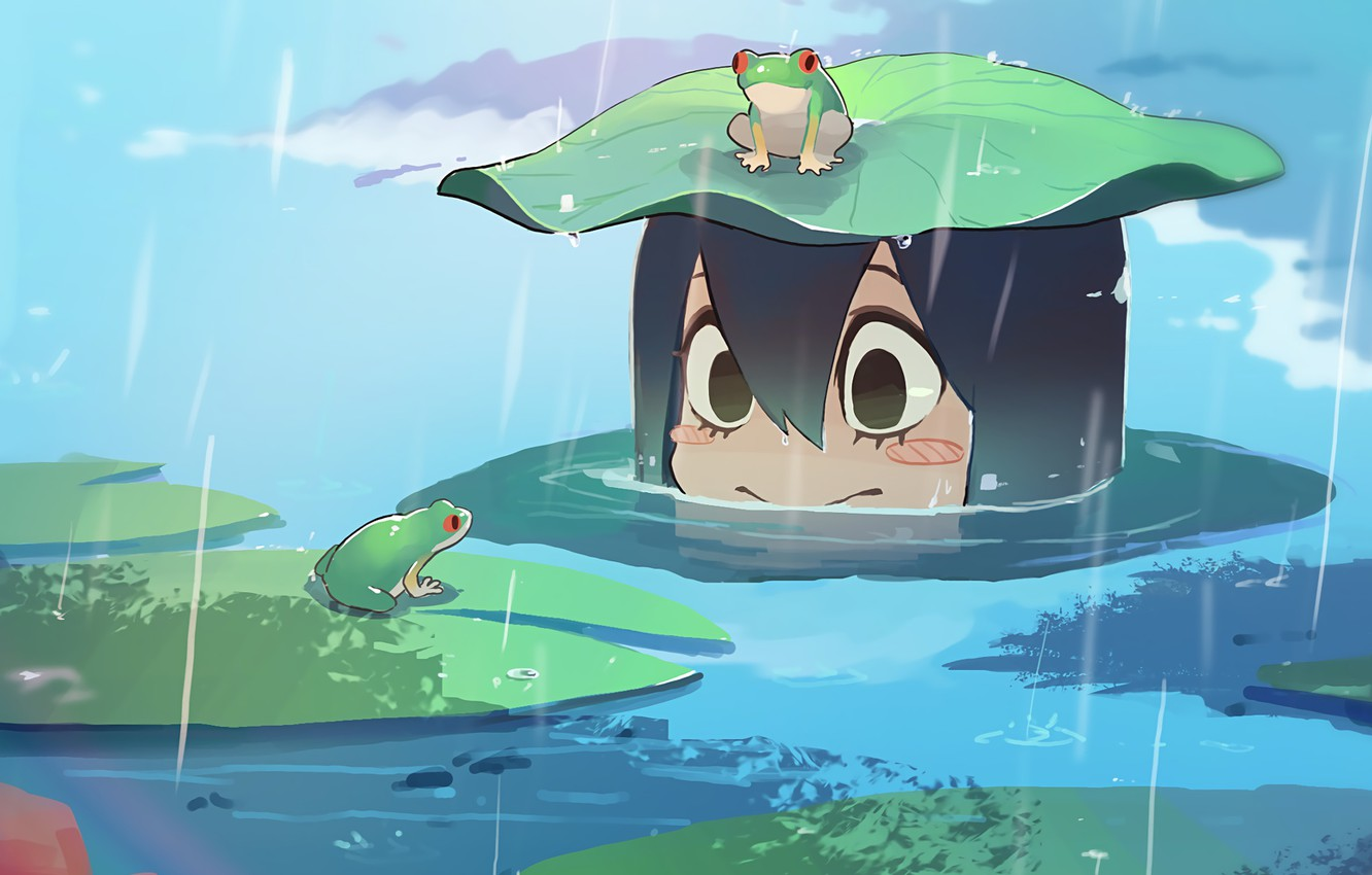 Photo wallpaper girl, rain, frog, smile, anime, water, cute, frogs, exploration