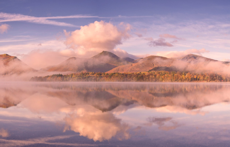 Photo wallpaper clouds, mountains, lake, England, Cumbria