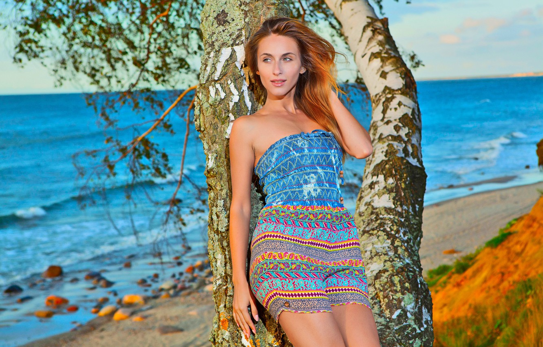 Photo wallpaper Water, Nature, Sea, Beach, Girl, Trees, Body, Pose, Brunette, Sexy, Beauty, Sexy, Figure, Beautiful, Posing, …