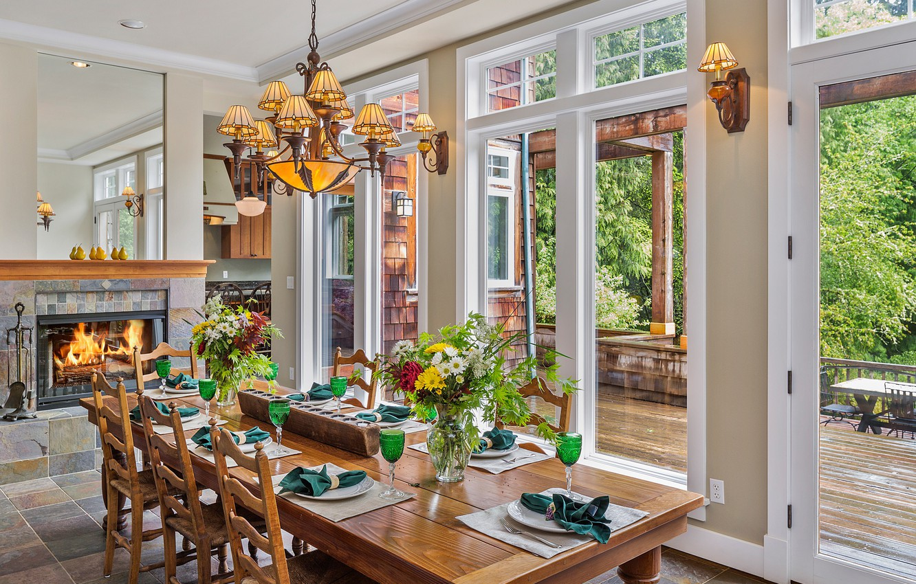 Photo wallpaper flowers, table, Windows, chandelier, dining room