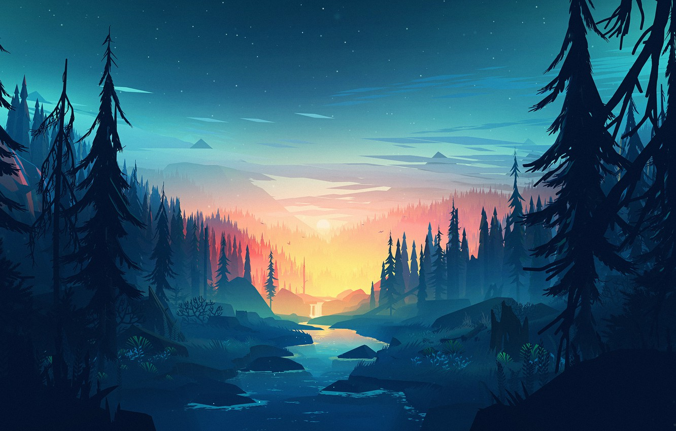 Photo wallpaper Sunset, The sun, Mountains, The game, River, Forest,