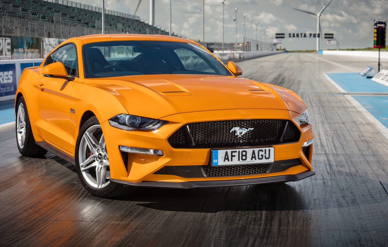 Photo wallpaper orange, Ford, Fastback, 2018, Mustang GT
