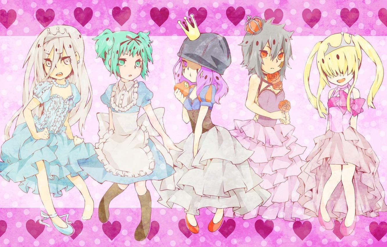 Photo wallpaper crown, hearts, guys, dresses, Princess, ruffles, arcobaleno, reborn, Katekyo Hitman Reborn!, Shark Superb, Tutor Hitman …