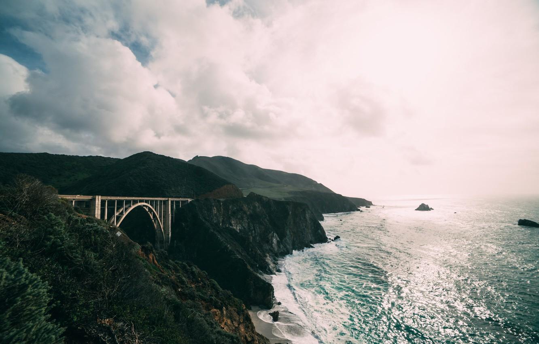 Photo wallpaper sea, wave, water, mountains, bridge, the ocean, rocks, California, Bixby Bridge, Big Sur coast