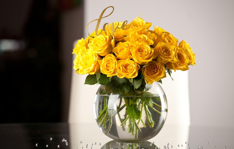 Photo wallpaper Love, roses, bouquet, vase, yellow, vase, roses, table, Abelena