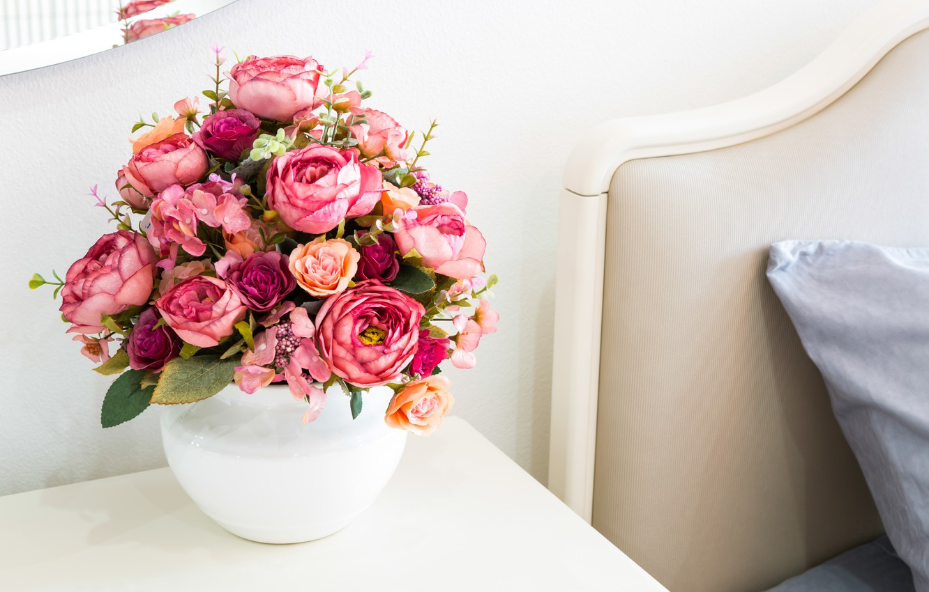 Photo wallpaper flowers, bed, bouquet, peonies, peonies by the bed