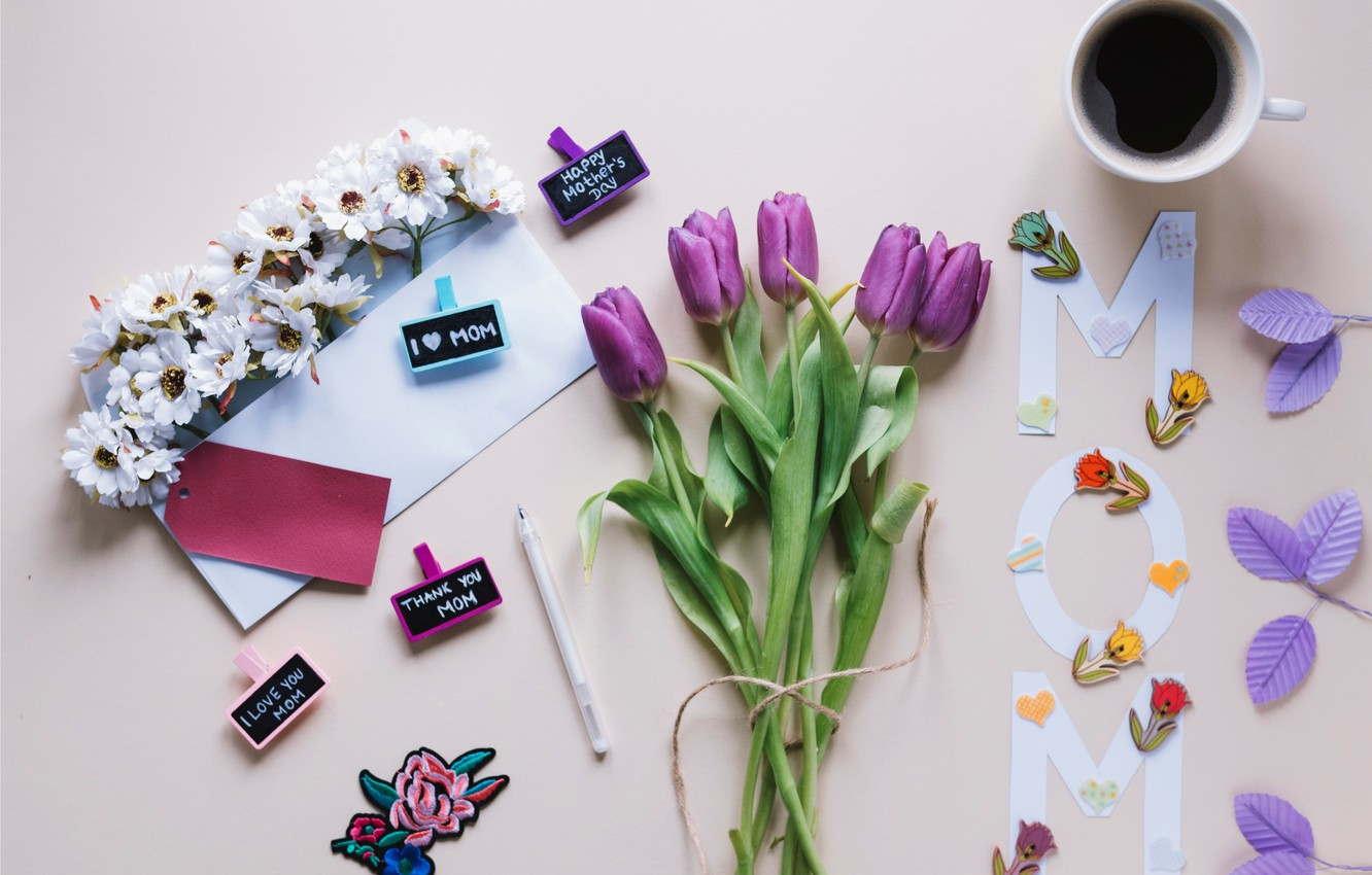 Photo wallpaper flowers, gift, bouquet, tulips, love, fresh, flowers, cup, romantic, tulips, gift, spring, purple, coffee, with …