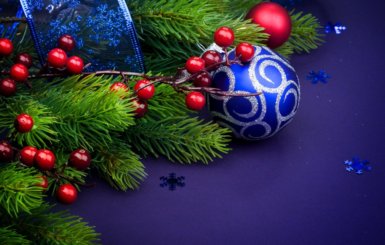 Photo wallpaper Tape, Balls, Christmas, New year, Decoration, Holiday, blue background, Fir-tree branches, branches of berries