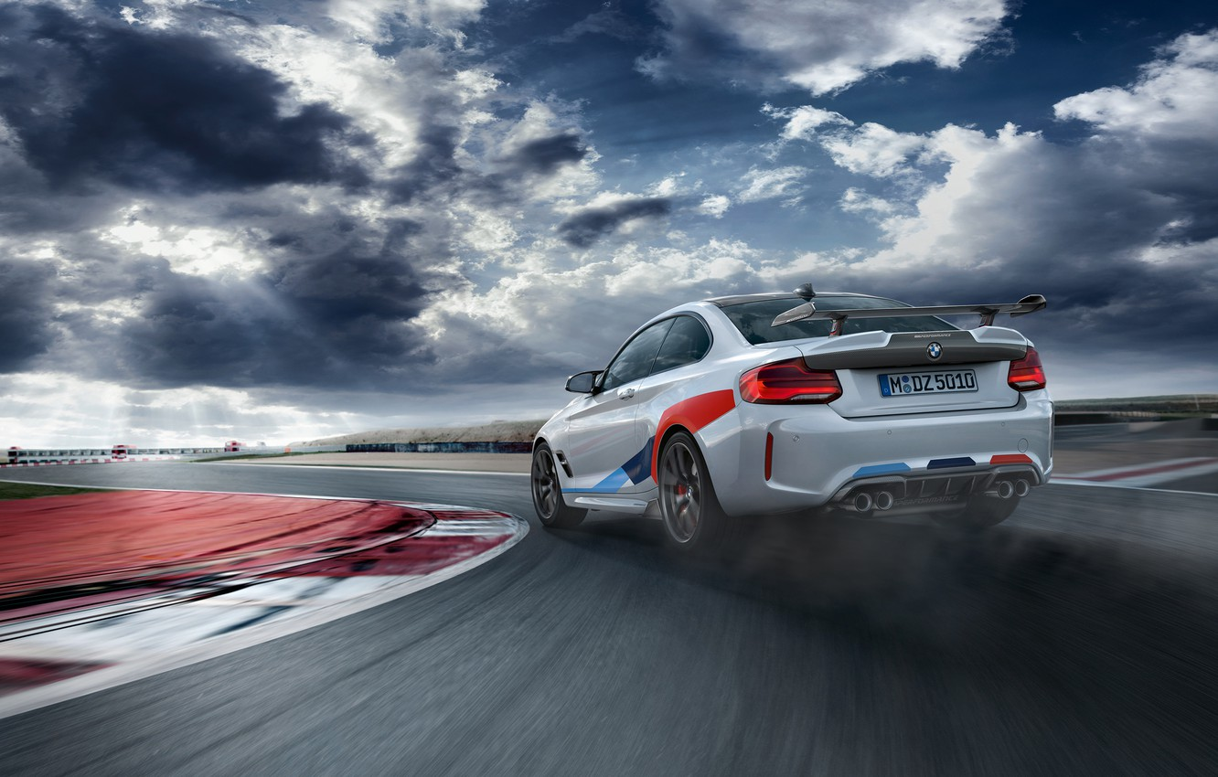 Photo wallpaper rear view, racing track, 2018, Competition, M Performance, BMW M2