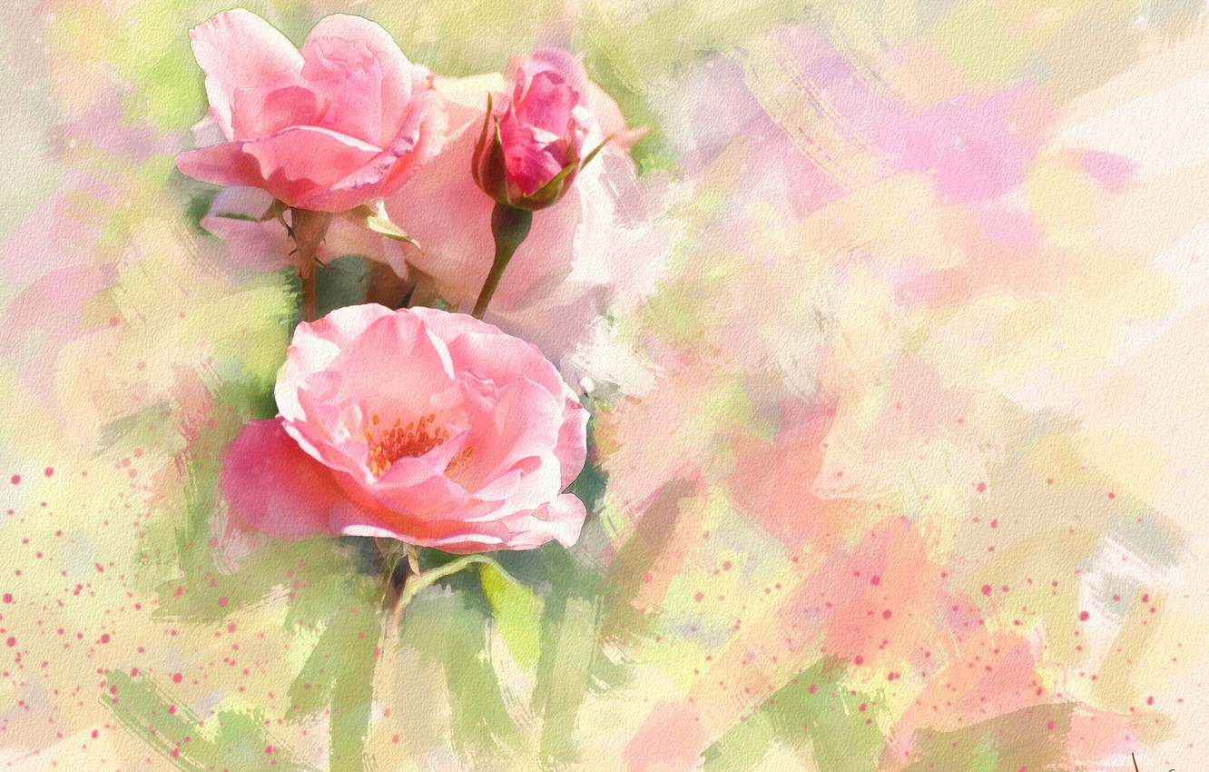 Photo wallpaper flower, flowers, background, figure, graphics, rose, roses, treatment, light, picture, art, pink, painting, buds, gently, …