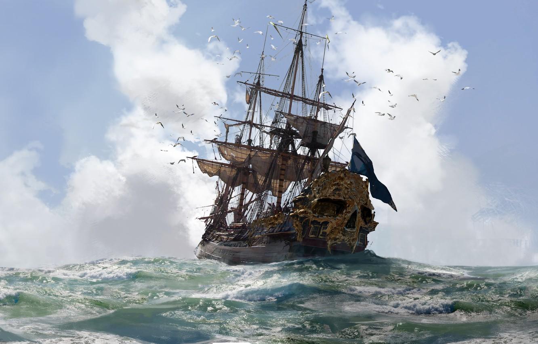 Photo wallpaper sake, game, gold, sky, sea, pirate, cloud, pirate ship, ship, seagull, kumo, kaizoku, Skull and ...