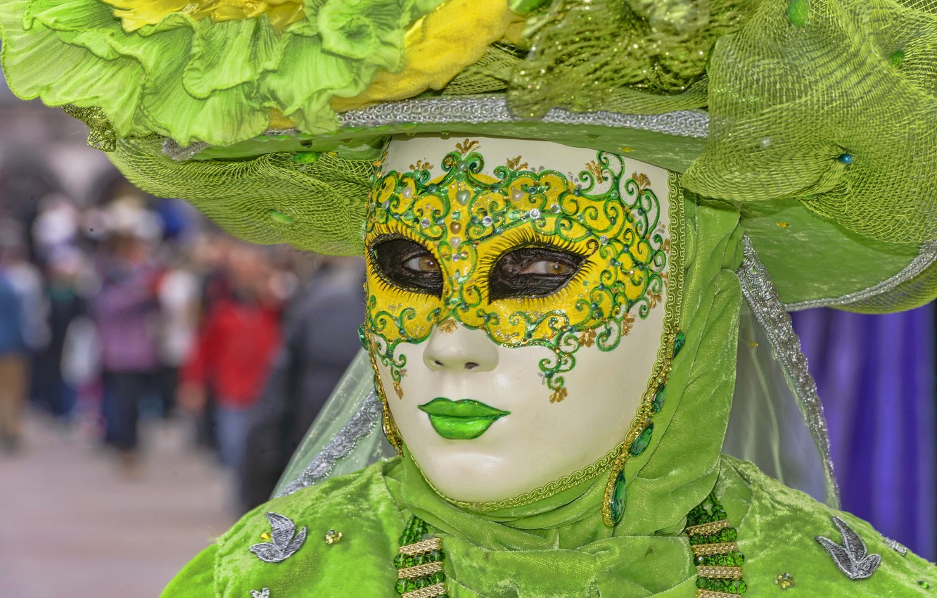 Photo wallpaper mask, Venice, outfit, carnival