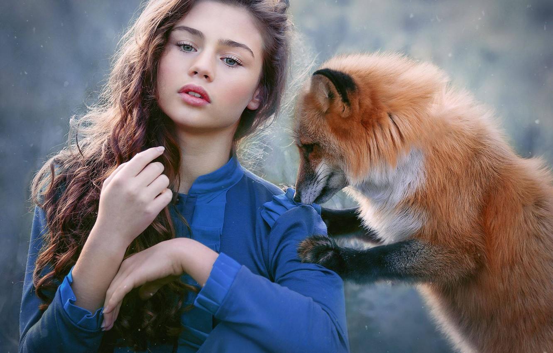 Photo wallpaper look, girl, snow, mood, Fox, red, long hair