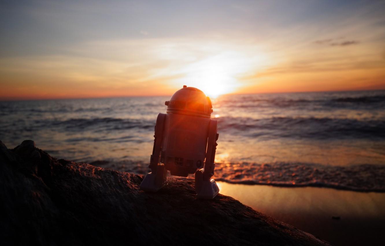 Wallpaper Sea The Sky Dawn Robot Star Wars R2 D2 Images For Desktop Section Raznoe Download