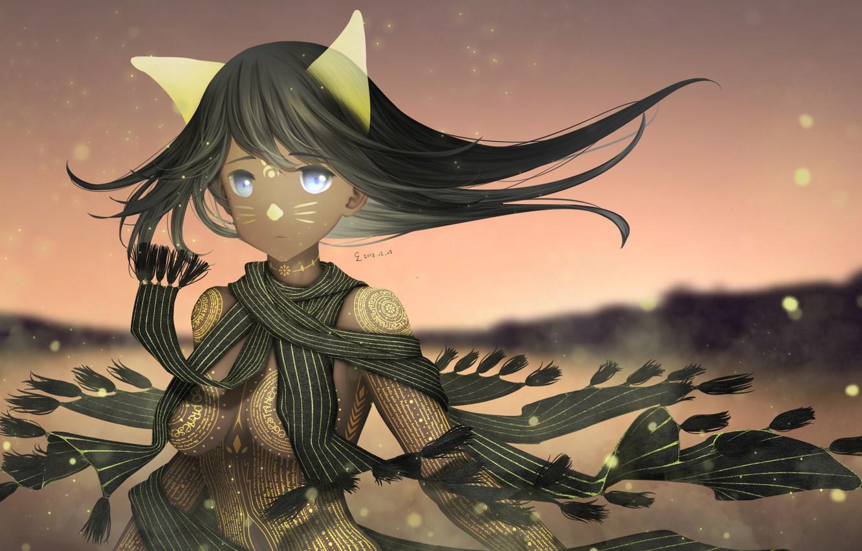 Photo wallpaper girl, magic, anime, scarf, art, tattoo, ears