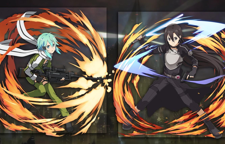 Photo wallpaper collage, anime, two, kirito, Sword Art Online, sinon