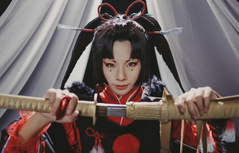 Photo wallpaper look, girl, style, sword, cosplay, East