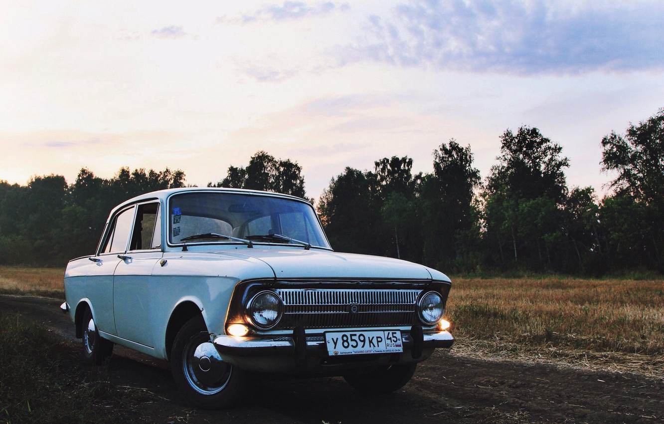 Photo wallpaper field, forest, the sky, nature, retro, the evening, car, 412, Muscovite