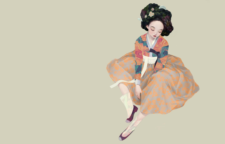 Photo wallpaper art, geisha, Korean geisha, Siwo Believes Kim