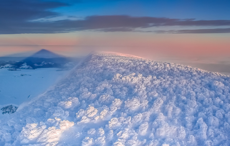 Photo wallpaper winter, sunset, mountain