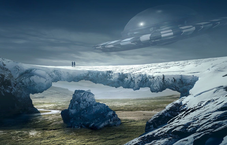 Photo wallpaper field, the sky, clouds, snow, flight, mountains, bridge, fog, future, stones, people, fiction, open, rocks, …
