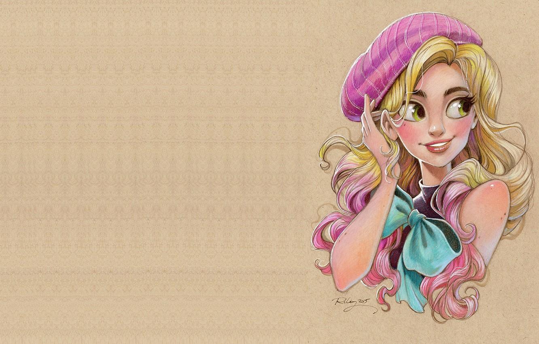 Photo wallpaper girl, figure, portrait, art, blonde, pencil, bow, Instagram 10k giveaway drawing, beret, Kellee Riley