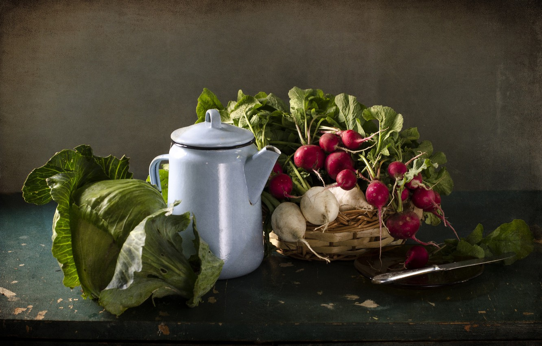 Photo wallpaper kettle, knife, still life, vegetables, cabbage, radishes, radish