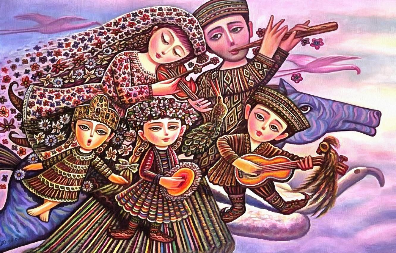 Photo wallpaper children, music, horse, family, Happiness, Sevada Grigoryan