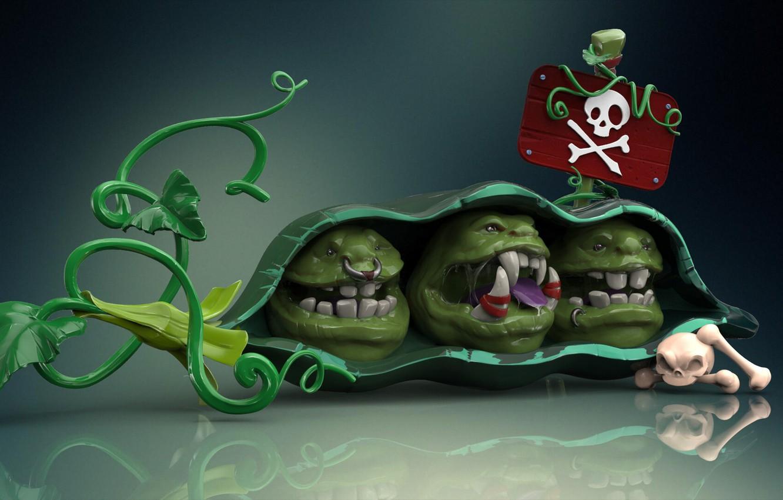 "Photo wallpaper rendering, skull, art, peas, bones, pod, pirates, Orc, ""Сarnivorous plant"" Speed Sculpt, Tanya Berezovskaya"
