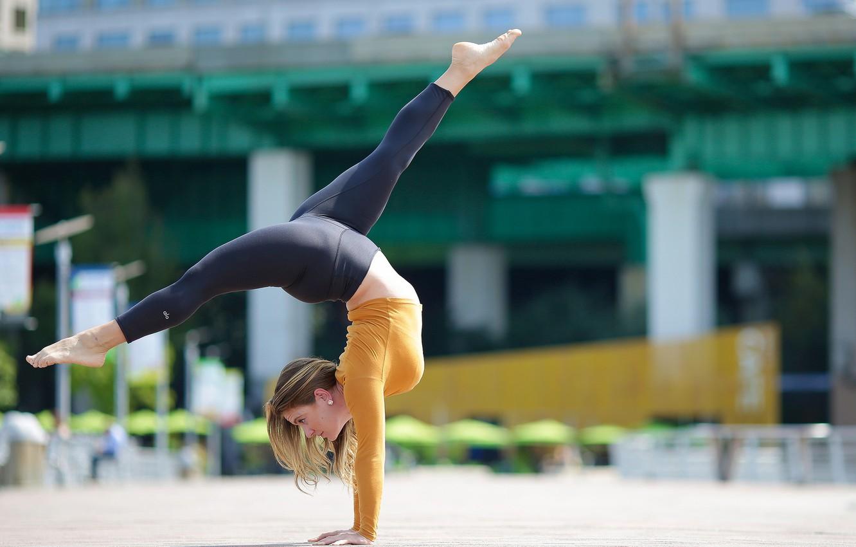 Photo wallpaper summer, girl, pose, gymnastics, legs, stretching, Alexa
