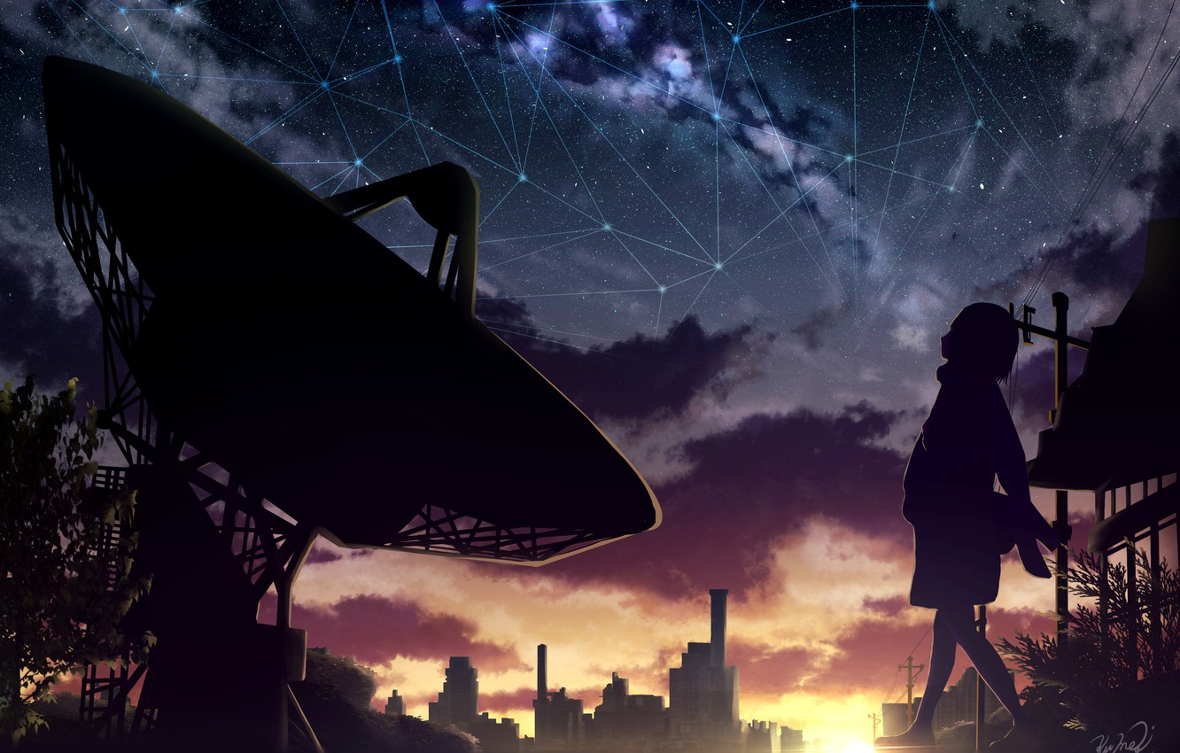 Photo wallpaper the sky, girl, sunset, the city, electronic telescope