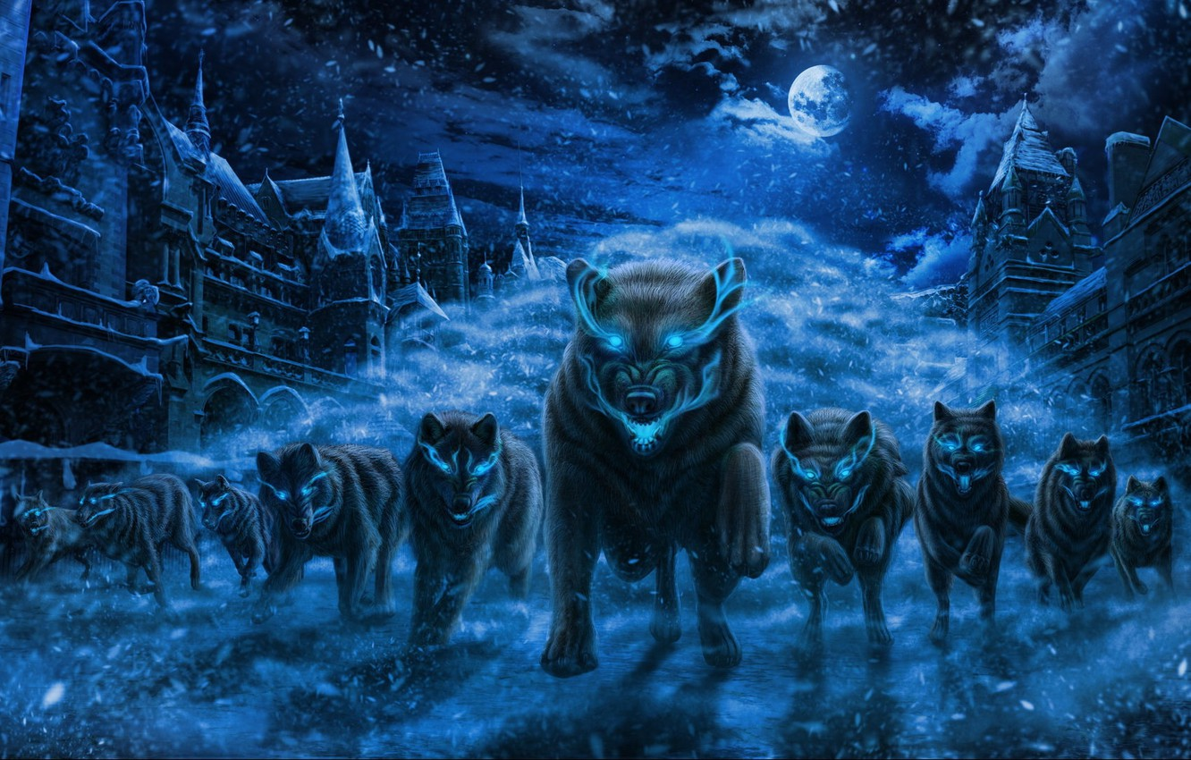 Photo wallpaper snow, night, the city, fear, predators, the full moon, invasion, blue flame, burning eyes, the …