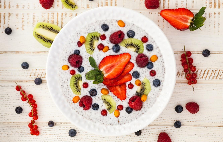 Photo wallpaper berries, raspberry, Breakfast, kiwi, blueberries, strawberry, fruit, berries, breakfast, porridge, healthy