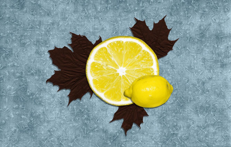 Photo wallpaper leaves, lemon, citrus, vitamins