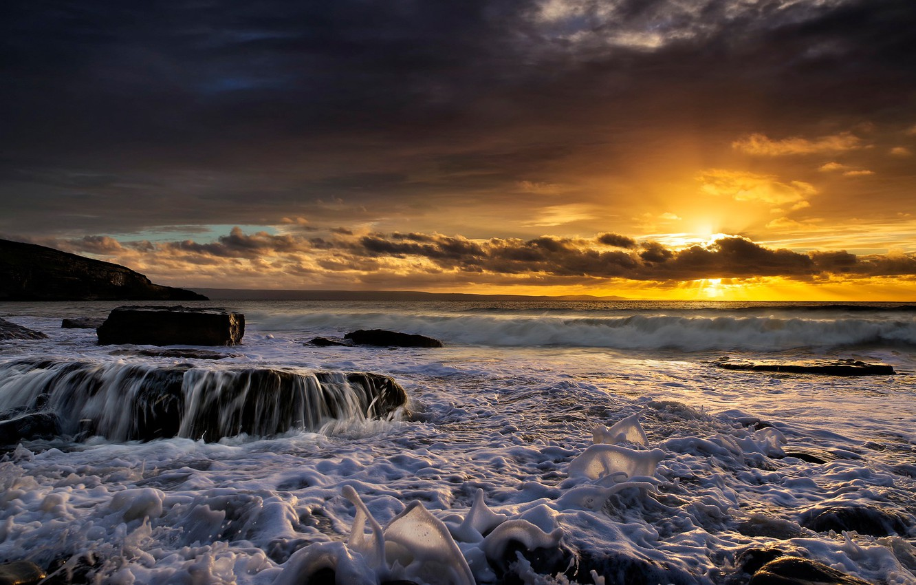 Photo wallpaper sea, sunset, England, England, Wales, Wales, Dunraven Bay, Southerndown, Southerndown, Bay Dunraven