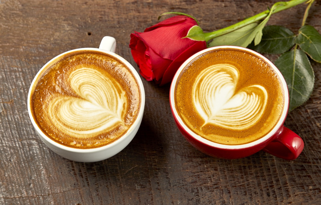 Photo wallpaper love, heart, coffee, roses, Bud, Cup, red, love, rose, red rose, cappuccino, heart, wood, cup, …